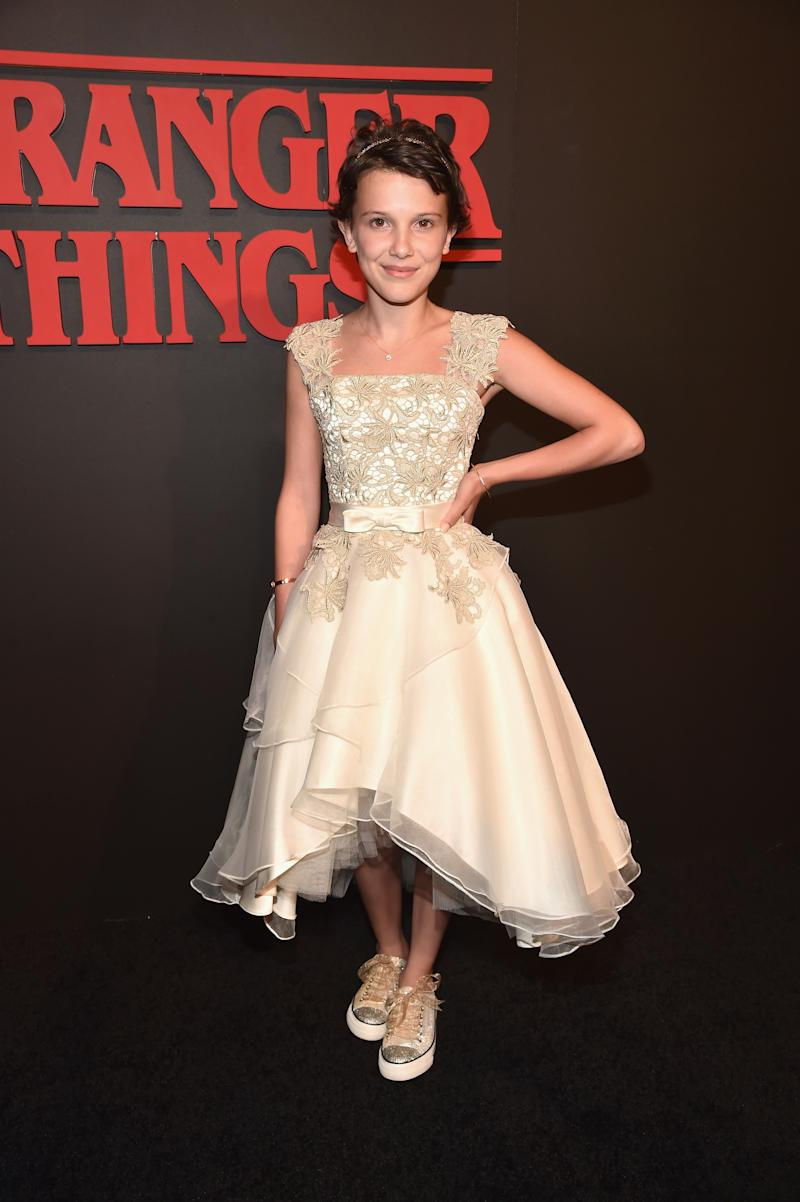 Millie Brown attends the Premiere of Netflix's Stranger Things at Mack Sennett Studios on July 11, 2016 in Los Angeles, California.
