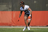 Cleveland Browns Greg Newsome II runs a drill during an NFL football rookie minicamp at the team's training camp facility, Friday, May 14, 2021, in Berea, Ohio. (AP Photo/Tony Dejak)