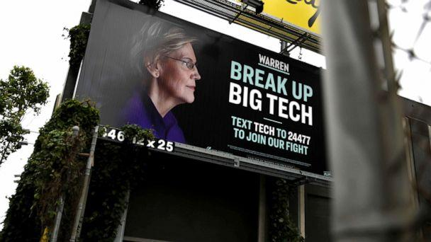 PHOTO: A billboard with an image of Democratic presidential hopeful Sen. Elizabeth Warren (D-MA), May 30, 2019, in San Francisco. (Justin Sullivan/Getty Images)