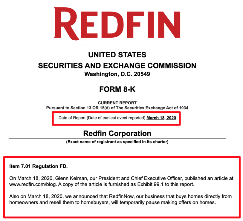 Redfin March 18, 2020 SEC 8K Filing Discloses How Redfin Pausing iBuyer Business RedfinNow - The Basis Point