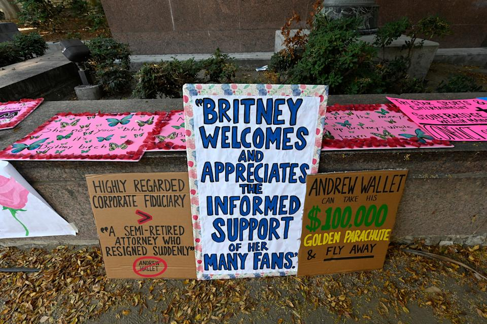 Banners from the Free Britney protest in SeptemberGetty Images