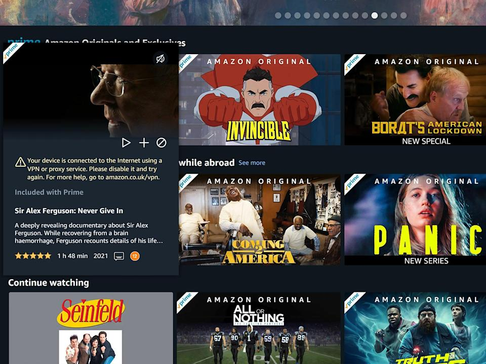 Amazon Prime Video spotted the VPN and prevented streaming (IPVanish)