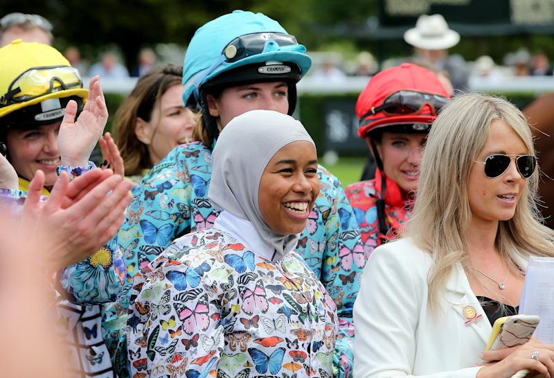 Khadijah Mellah has become the first jockey to win a race wearing a hijab. (Photo by Mark Kerton/PA Images via Getty Images)