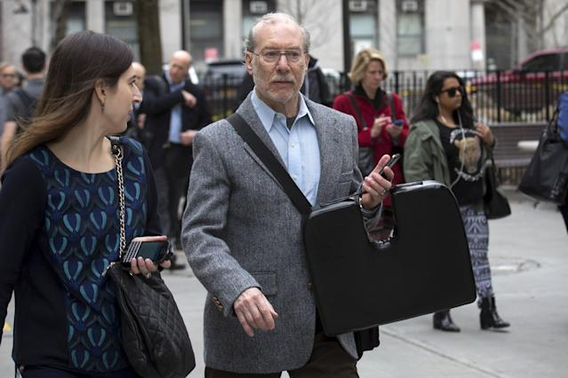 Stanley Patz, father of Etan Patz, arrives at the state Supreme Court in the Manhattan borough of New York April 13, 2015. Testimony began in late January in the trial of a former deli worker, Pedro Hernandez, accused of the 1979 murder of a missing New York City boy. Summations by the prosecution and defense are slated for Monday in state Supreme Court in Manhattan, with jury deliberations to begin soon afterward. REUTERS/Brendan McDermid