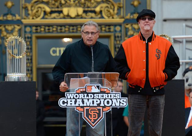 Kuiper speaks at the most recent Giants championship rally. (Getty)