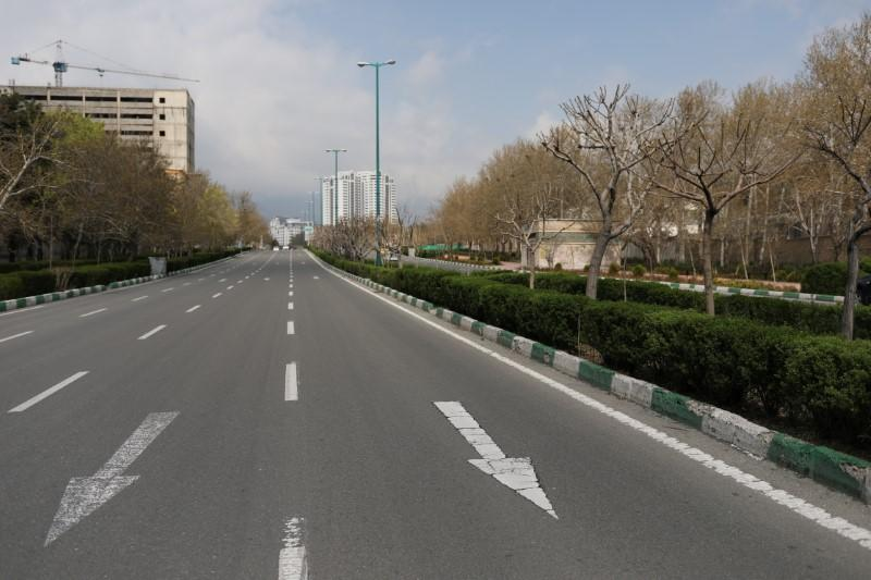 General view of a deserted street, during the intercity ban, amid fear of coronavirus disease (COVID-19), in Tehran