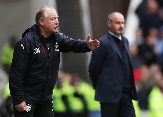 Soccer Football - Scottish Premiership - Rangers vs Kilmarnock - Ibrox, Glasgow, Britain - May 5, 2018 Rangers co-caretaker manager Jimmy Nicholl and Kilmarnock manager Steve Clarke REUTERS/Scott Heppell