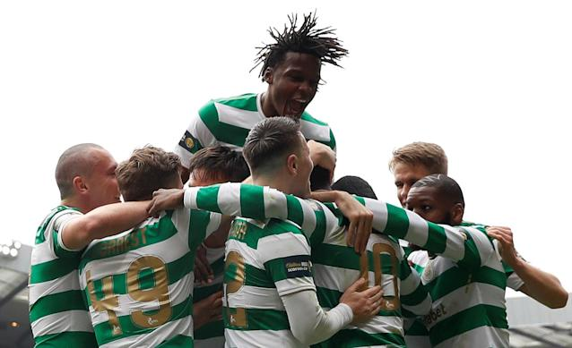 Soccer Football - Scottish Cup Semi Final - Celtic vs Rangers - Hampden Park, Glasgow, Britain - April 15, 2018 Celtic's players celebrate a goal Action Images via Reuters/Lee Smith
