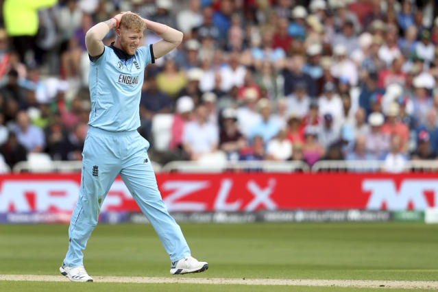 England's Ben Stokes reacts during the Cricket World Cup match between England and Pakistan at Trent Bridge in Nottingham, Monday, June 3, 2019. (AP Photo/Rui Vieira)