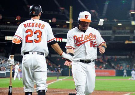 Sep 19, 2018; Baltimore, MD, USA; Baltimore Orioles designated hitter DJ Stewart (62) high fives outfielder Joey Rickard (23) after scoring a run in the seventh inning against the Toronto Blue Jays at Oriole Park at Camden Yards. Mandatory Credit: Evan Habeeb-USA TODAY Sports