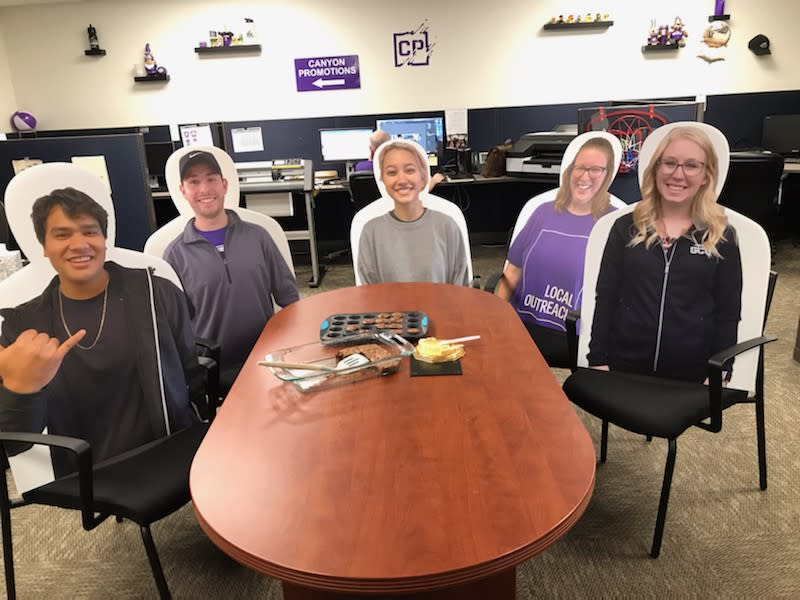 Grand Canyon University in Arizona sold cutouts for students to send back home. (Photo: Renate Spilger/Canyon Promotions)