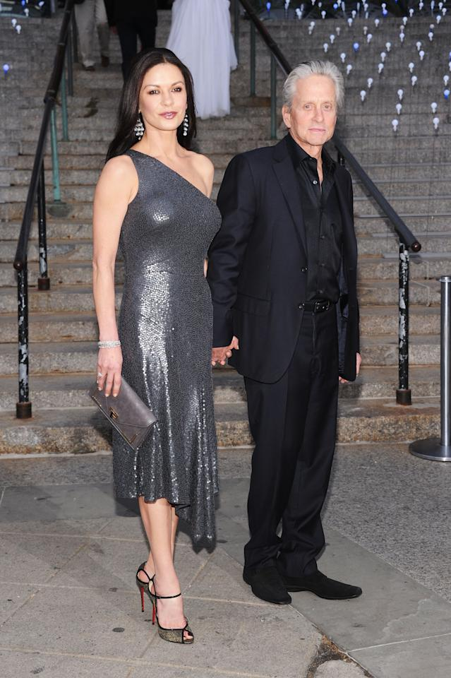 NEW YORK, NY - APRIL 17:  Catherine Zeta Jones and Michael Douglas attend the 2012 Tribeca Film Festival at the State Supreme Courthouse on April 17, 2012 in New York City.  (Photo by Jamie McCarthy/Getty Images)