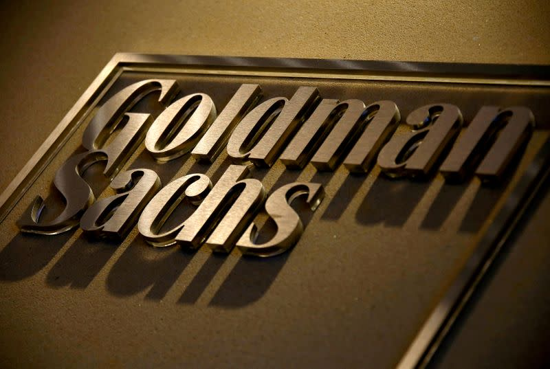 FILE PHOTO: FILE PHOTO: A sign is displayed in the reception of Goldman Sachs in Sydney