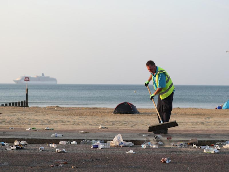 Councils across the south coast have had to organise litter picks after the heatwave daytrippers left: PA