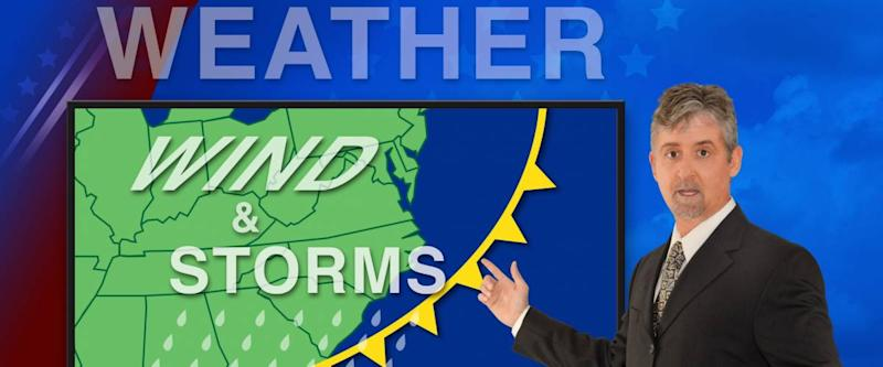 a meteorologist reading the news weather forecast