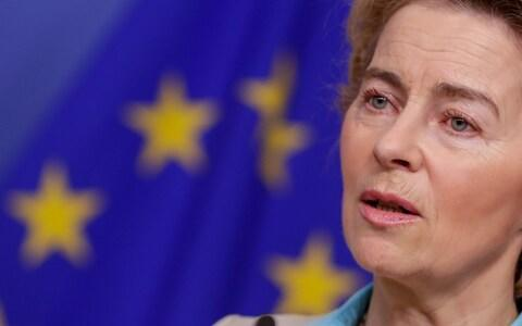 Mandatory Credit: Photo by STEPHANIE LECOCQ/EPA-EFE/REX (10523713o) European Commission President Ursula von der Leyen attends a joint press conference with Austrian Chancellor Kurz at the end of their meeting at the European Commission in Brussels, Belgium, 12 January 2020. Austrian Chancellor Sebastian Kurz in Brussels, Belgium - 12 Jan 2020 - Credit: STEPHANIE LECOCQ/EPA-EFE/REX