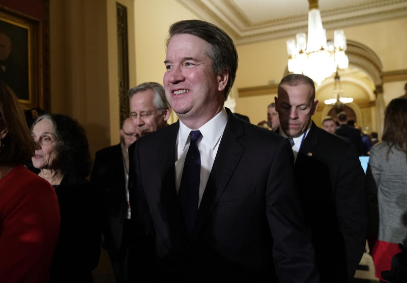 U.S. Supreme Court Associate Justice Brett Kavanaugh smiles as he departs after U.S. President Donald Trump concluded his second State of the Union address to a joint session of the U.S. Congress in the House Chamber of the U.S. Capitol in Washington, U.S. February 5, 2019. REUTERS/Joshua Roberts