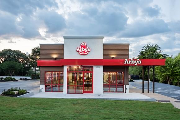 The front of a revamped Arby's restaurant
