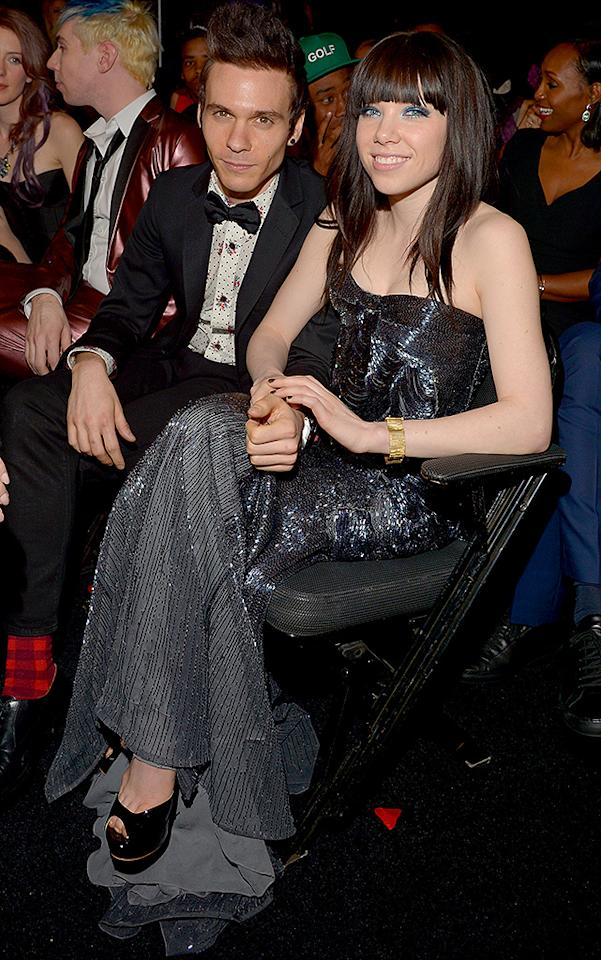 LOS ANGELES, CA - FEBRUARY 10:  Singer Carly Rae Jepsen (L) and musician Matthew Koma attends the 55th Annual GRAMMY Awards at STAPLES Center on February 10, 2013 in Los Angeles, California.  (Photo by Lester Cohen/WireImage)