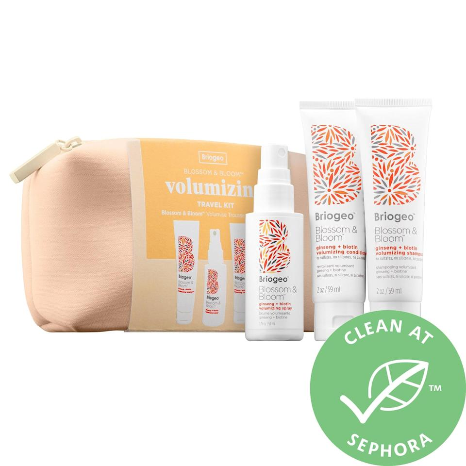 <p>The travel-sized goodies inside this <span>Briogeo Blossom and Bloom Hair Thickening + Volumizing Travel Kit</span> ($25) help thin hair in the short term, thanks to follicle-stimulating ginger and ginseng that support blood flow to the scalp. There's also strengthening biotin right inside to promote growth at the same time.</p>