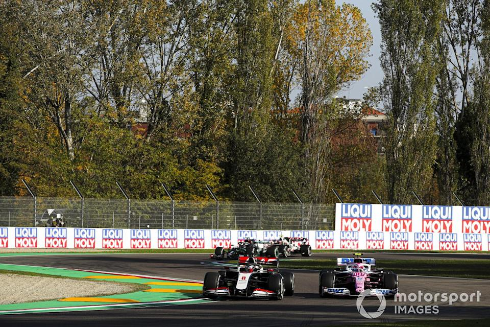 "Romain Grosjean, Haas VF-20, Lance Stroll, Racing Point RP20<span class=""copyright"">Charles Coates / Motorsport Images</span>"