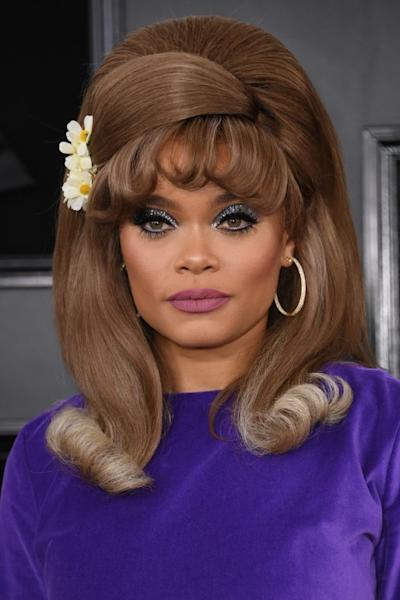Bouffant hair and metallic eyeshadow for Andra Day