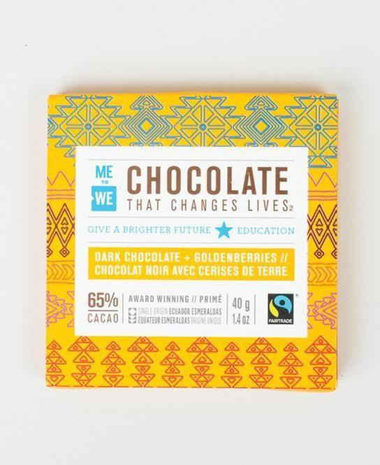 "<p>metowe.com</p><p><strong>$3.99</strong></p><p><a href=""https://shop.metowe.com/products/me-to-we-chocolate-dark-goldenberries"" rel=""nofollow noopener"" target=""_blank"" data-ylk=""slk:SHOP NOW"" class=""link rapid-noclick-resp"">SHOP NOW</a></p><p><a href=""https://shop.metowe.com/pages/about-us"" rel=""nofollow noopener"" target=""_blank"" data-ylk=""slk:ME to WE"" class=""link rapid-noclick-resp"">ME to WE </a>develops products, like these hand-crafted chocolates, to encourage social change in low-income communities all around the world. </p><p>These fairtrade, vegan sweets, give a portion of proceeds to help children in Ecuador recieve a better education, and provides job growth for cacao farmers. </p>"