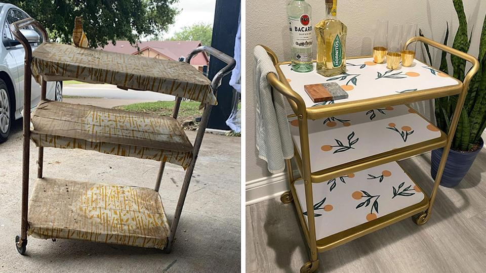 A side-by-side photo of a vintage bar cart before and after restoration