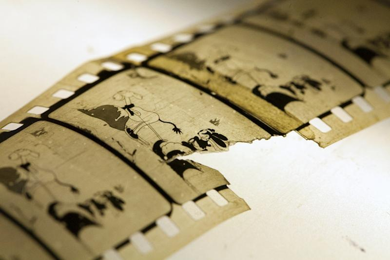 """A photo released on December 11, 2014 by the National Library of Norway shows a restored copy of the 1927 Walt Disney animated short film """"Empty Socks"""" starring Oswald, the Lucky Rabbit"""