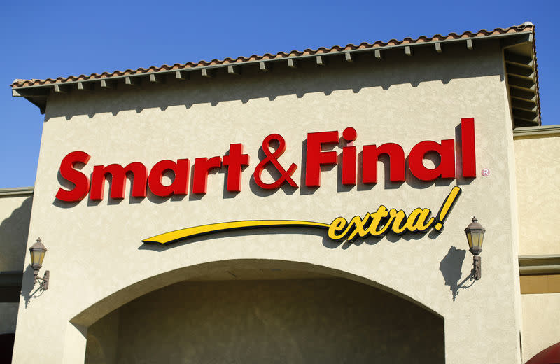 A Smart & Final store's sign is pictured in San Marcos, California