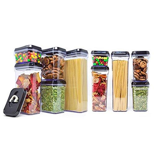 [10-Piece Set] Royal Air-Tight Food Storage Container Set - Durable Plastic - BPA Free - Clear Plastic with Black Lids (Amazon)