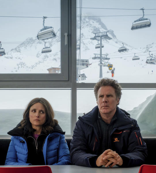 """This image released by Fox Searchlight shows Julia Louis-Dreyfus, left, and Will Ferrell in a scene from """"Downhill,"""" a remake of the Swedish film """"Force Majeure.""""  (Jaap Buitendijk/Fox Searchlight via AP)"""