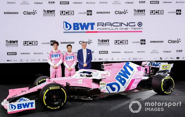 """Sergio Perez, Racing Point, Lance Stroll, Racing Point and Otmar Szafnauer, Team Principal and CEO, Racing Point <span class=""""copyright"""">Glenn Dunbar / Motorsport Images</span>"""