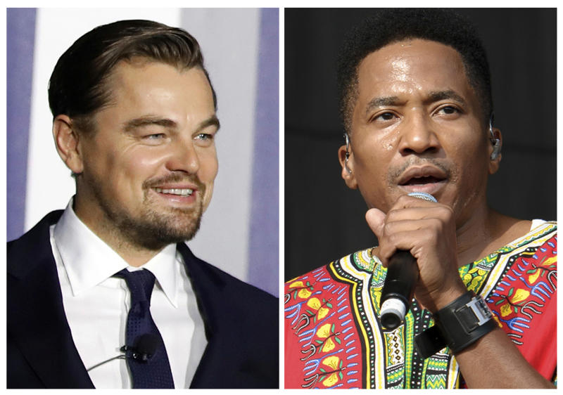 FILE - In this combination of file photos, Leonardo DiCaprio, left, appears at an event to discuss climate change at the White House in Washington on Oct. 3, 2016, and  Q-Tip, from A Tribe Called Quest, performs at the Wireless Festival in London on July 14, 2013. Longtime friends DiCaprio and Q-Tip hung out at an intimate showcase for the Australian band Chase Atlantic who made their debut in New York late Wednesday, March 29, 2017.  (AP Photo/Carolyn Kaster, left, Jonathan Short, Files)