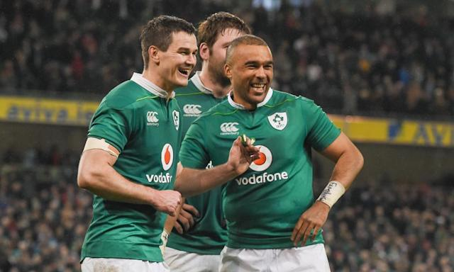 "<span class=""element-image__caption"">Ireland celebrate their 13-9 victory over England in the Six Nations.</span> <span class=""element-image__credit"">Photograph: Brendan Moran/Sportsfile via Getty Images</span>"