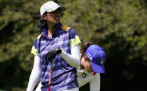 Aditi Ashok, of India, watches her tee shot on the second hole during the first round of the women's golf event at the 2020 Summer Olympics, Wednesday, Aug. 4, 2021, at the Kasumigaseki Country Club in Kawagoe, Japan. (AP Photo/Matt York)