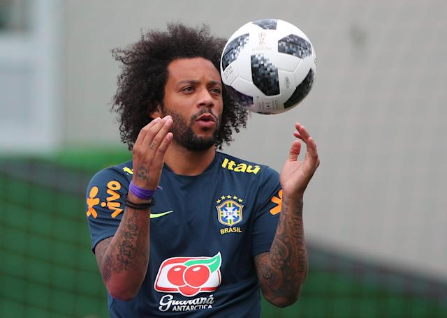 Soccer Football - World Cup - Brazil Training - Brazil Training Camp, Sochi, Russia - June 23, 2018 Brazil's Marcelo during training REUTERS/Hannah Mckay