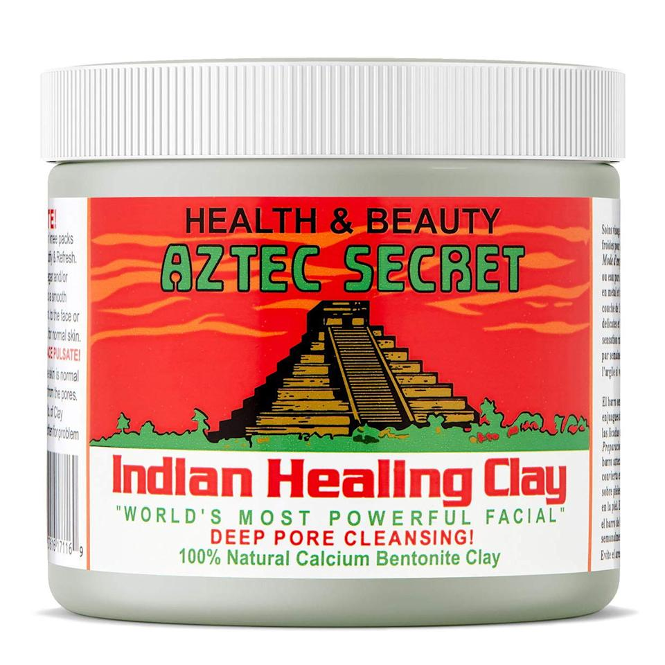 """This pore-cleansing mask made of 100% natural calcium bentonite clay can be used on your face <em>or</em> body. Leave it on for 5 to 10 minutes and let it work its acne-clearing magic! $11, Amazon. <a rel=""""nofollow"""" href=""""https://www.amazon.com/dp/B0014P8L9W/ref=as_li_ss_tl?ascsub=undefined&th=1&linkCode=ll1&linkId=4873a98c29bb77aa4ffaf071cd8f1237&language=en_US"""">Get it now!</a>"""