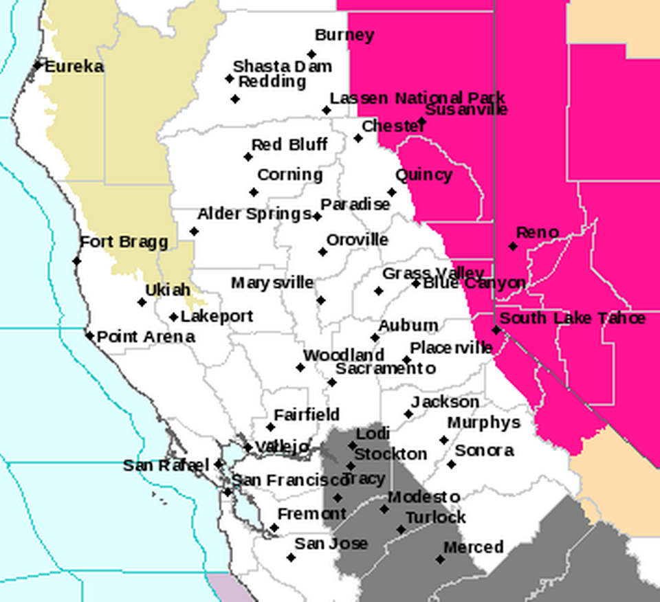 A weather service map shows the red flag warning set to take effect Monday in pink.