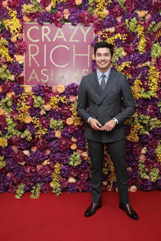 <p>Henry Golding looked seriously dapper at the UK premiere of 'Crazy Rich Asian' thanks to a sharp, double-breasted suit. [Photo: Freuds] </p>