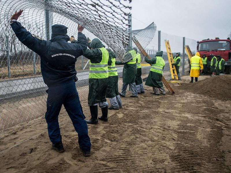 Convicts build a new fence along the border between Hungary and Serbia near Kelebia, Hungary, on 1 March 2017. (EPA)