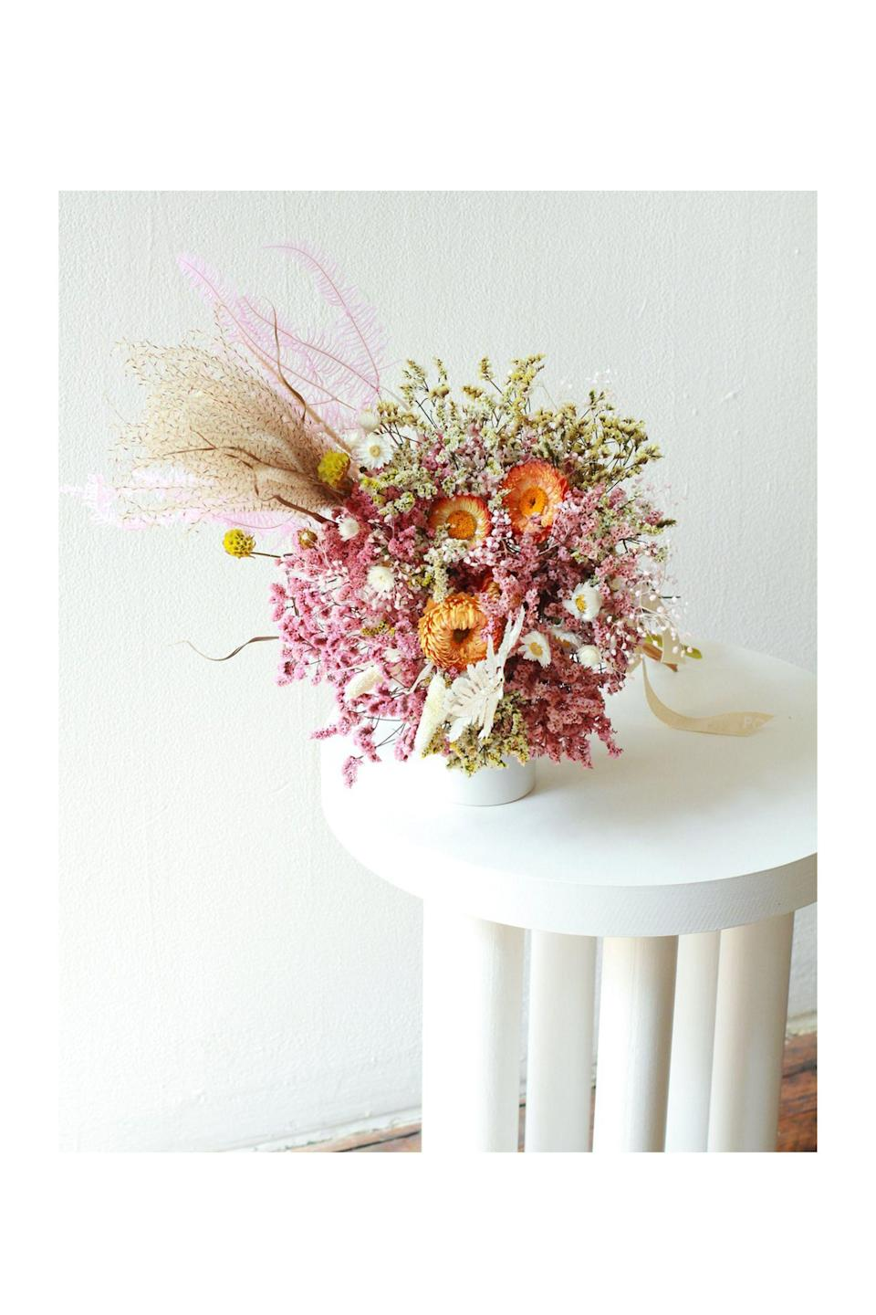"""<p><strong>Popupflorist </strong></p><p>popupflorist.com</p><p><strong>$50.00</strong></p><p><a href=""""https://popupflorist.com/products/feel-good-bouquet"""" rel=""""nofollow noopener"""" target=""""_blank"""" data-ylk=""""slk:Shop Now"""" class=""""link rapid-noclick-resp"""">Shop Now</a></p><p>Fusing fashion and florals together, <a href=""""https://thepopupflorist.com/"""" rel=""""nofollow noopener"""" target=""""_blank"""" data-ylk=""""slk:Popupflorist"""" class=""""link rapid-noclick-resp"""">Popupflorist</a> is the place to go for the unexpected textures and captivating color palettes. With an accessible price point, whimsical point of view, and eco-conscious mindset, these floral arrangements are sure to put a smile on your face.</p>"""