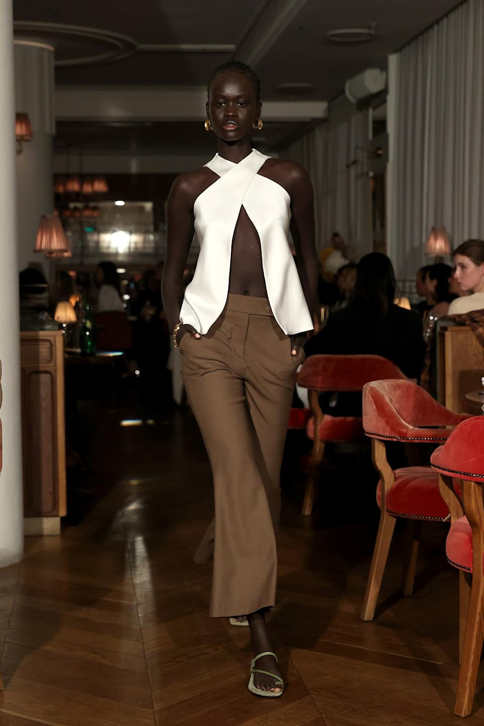 Australia fashion week included this look from Anna Quan, that would make it difficult to wear a bra underneath. (Getty Images)