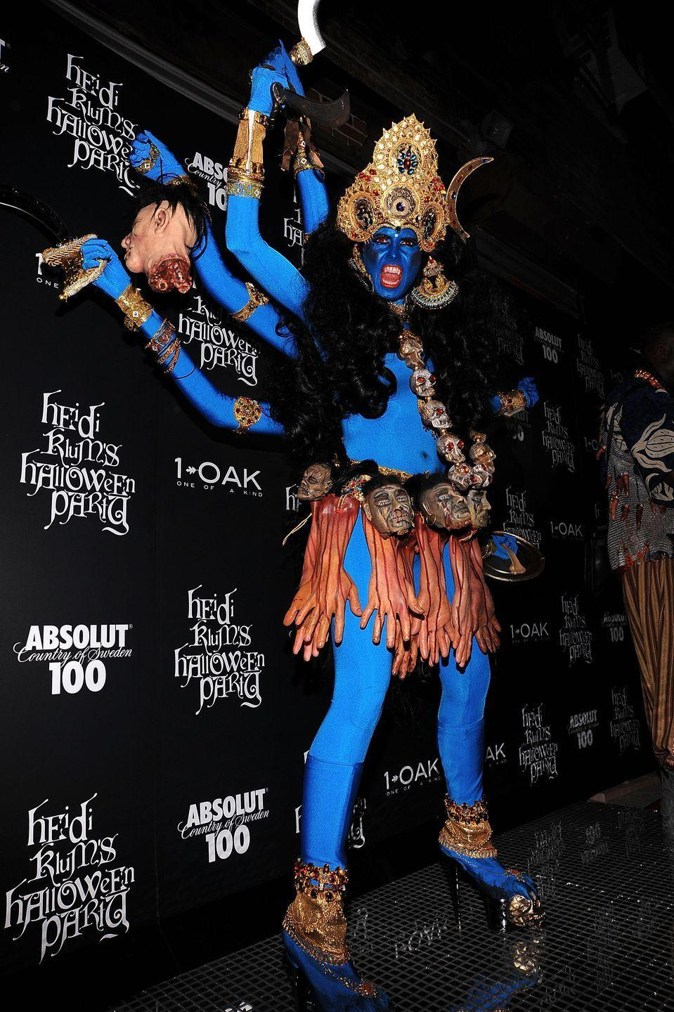 """<p>Heidi dresses up as the Hindu goddess in 2008. </p><p>She explained her assistant came up with the idea: 'My husband and I were in India last year, so she said """"Why don't you do an Indian goddess? Like a scary Indian goddess?' And I said """"OK!"""".</p>"""