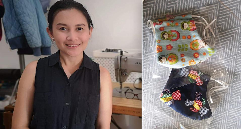 Valerie Diola and samples of the washable face masks she makes.