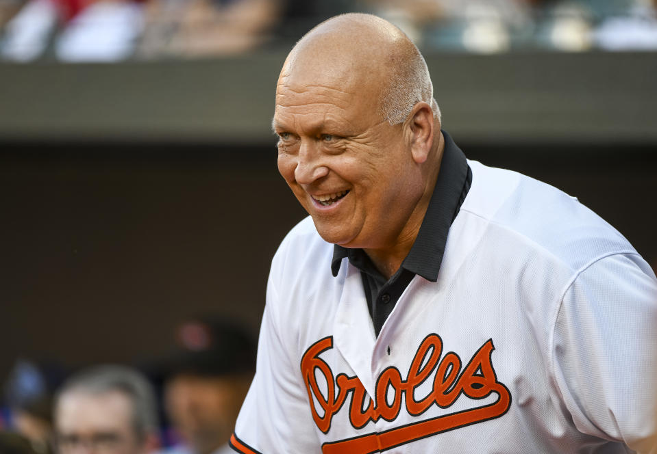 Former Baltimore Orioles great Cal Ripken Jr. attends the 1989 team reunion prior to a 2019 game at Camden Yards in Baltimore, Maryland.