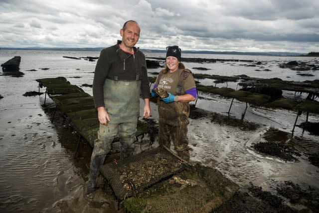 Ciaran Gallagher and Maureen Nolan work on their oyster farm, close to Quigley's Point on Lough Foyle