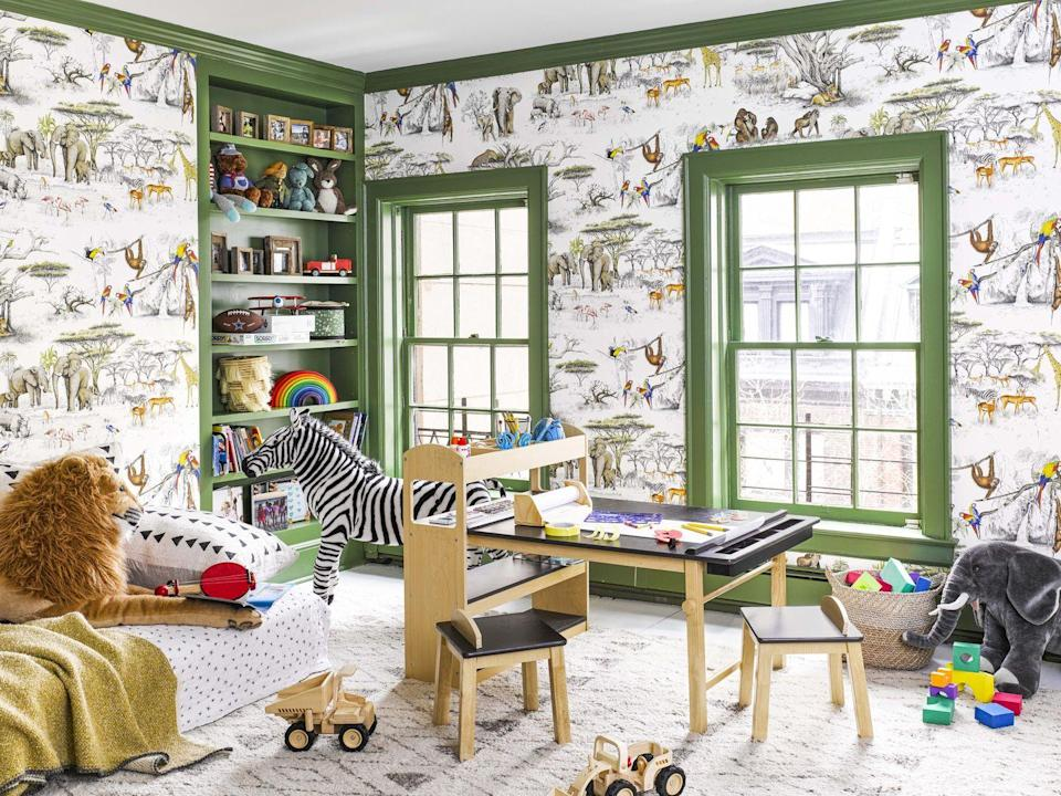 "<p>For a top-floor playroom in a Manhattan brownstone, designer Jenny Vorhoff of <a href=""https://www.housebeautiful.com/design-inspiration/house-tours/a31153875/studio-riga-nyc-brownstone/"" rel=""nofollow noopener"" target=""_blank"" data-ylk=""slk:Studio Riga"" class=""link rapid-noclick-resp"">Studio Riga</a> used an eggshell paint finish on the trim, which hides little fingerprints better than a flat or matte finish and is easier to clean.</p>"