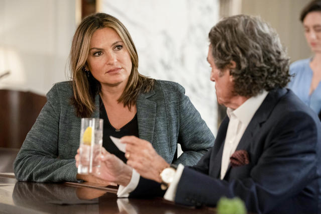 """This image released by NBC shows Mariska Hargitay, left, and Ian McShane in a scene from """"Law & Order: SVU. The show's 21st season premieres on Sept. 26. (Photo by: Virginia Sherwood/NBC)"""