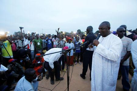 The United Democratic Party (UDP), opposition alliance presidential candidate Adama Barrow speaks during a rally in Buffer zone, Gambia